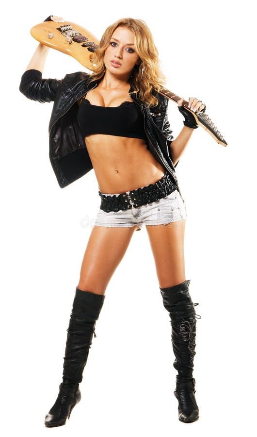 性感电女孩的吉他 图库摄影