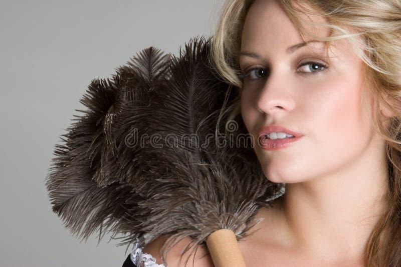 性感白肤金发的法国的佣人 库存图片