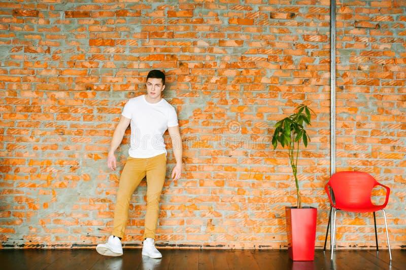 年轻性感的人爱好健美者运动员、演播室画象在顶楼,在白色T恤杉的人模型和棕色长裤 免版税库存照片