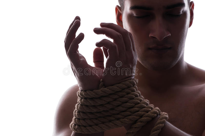 性感的人用被绑住的手 图库摄影