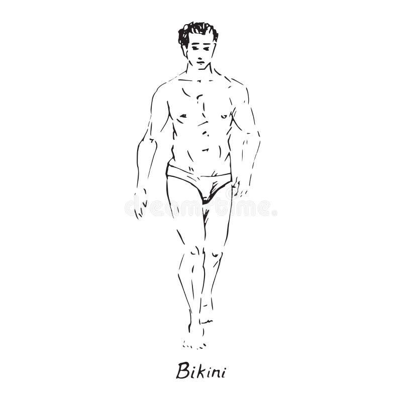 性感的人画象泳装的比基尼泳装类型的有题字的,手拉的概述乱画,在流行艺术样式的剪影 库存例证