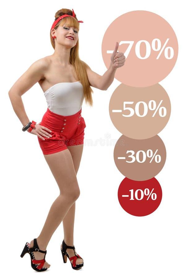 性感的减速火箭的女孩shopaholic在白色背景 免版税库存照片