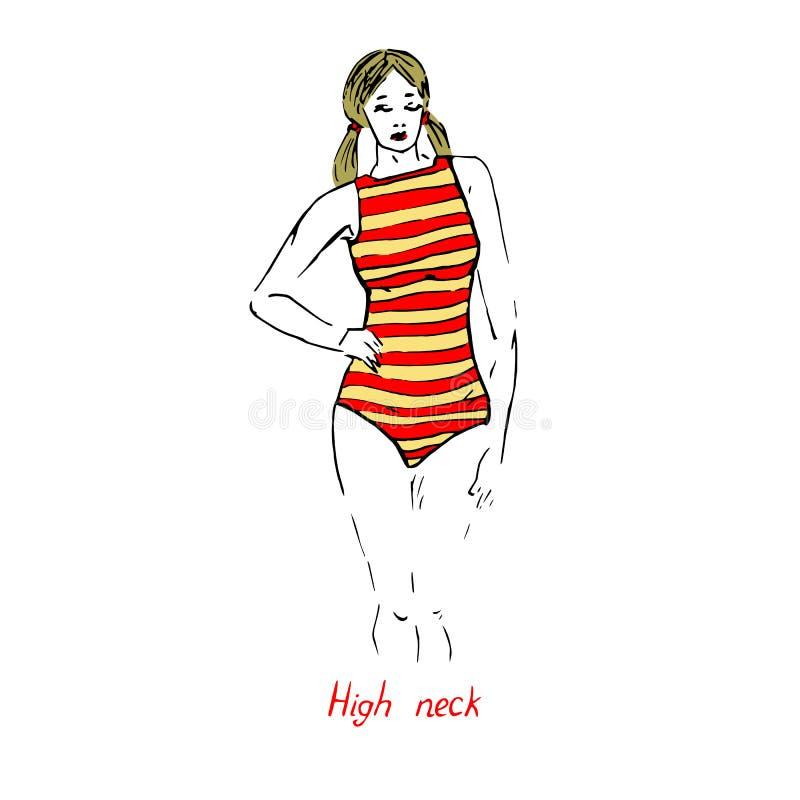 性感的减速火箭的白肤金发的别针画象女孩的一件泳装的红色和黄色镶边高脖子类型的有题字的 皇族释放例证
