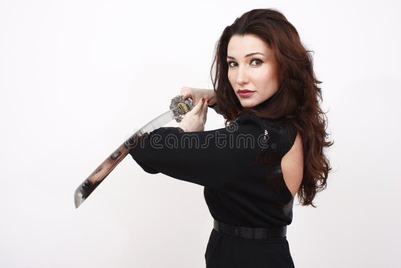 性感的剑妇女 图库摄影