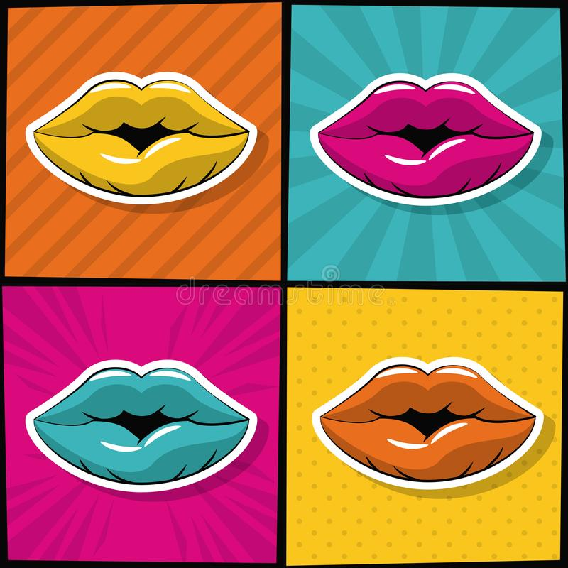 性感的嘴唇流行艺术象 向量例证