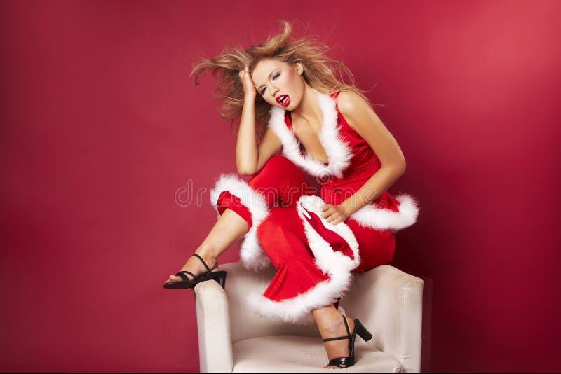 性感的圣诞老人帮手 免版税库存照片