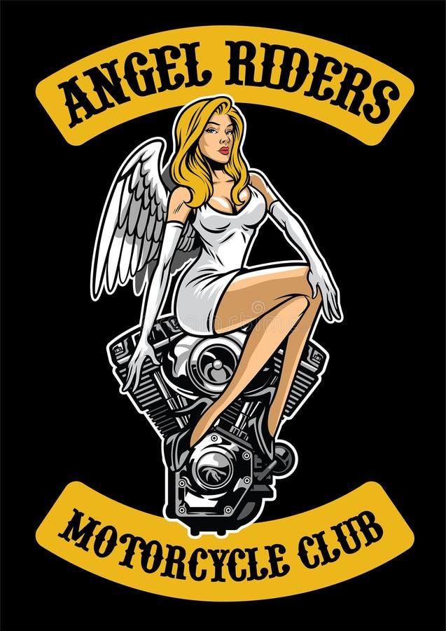 性感的天使和摩托车引擎 库存例证