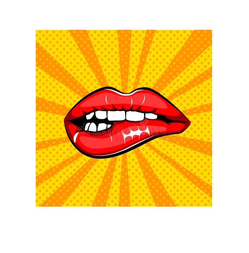 性感的女性嘴唇 为印刷品签字,在漫画,时尚,流行艺术,减速火箭的样式80-s 90s 也corel凹道例证向量 向量例证