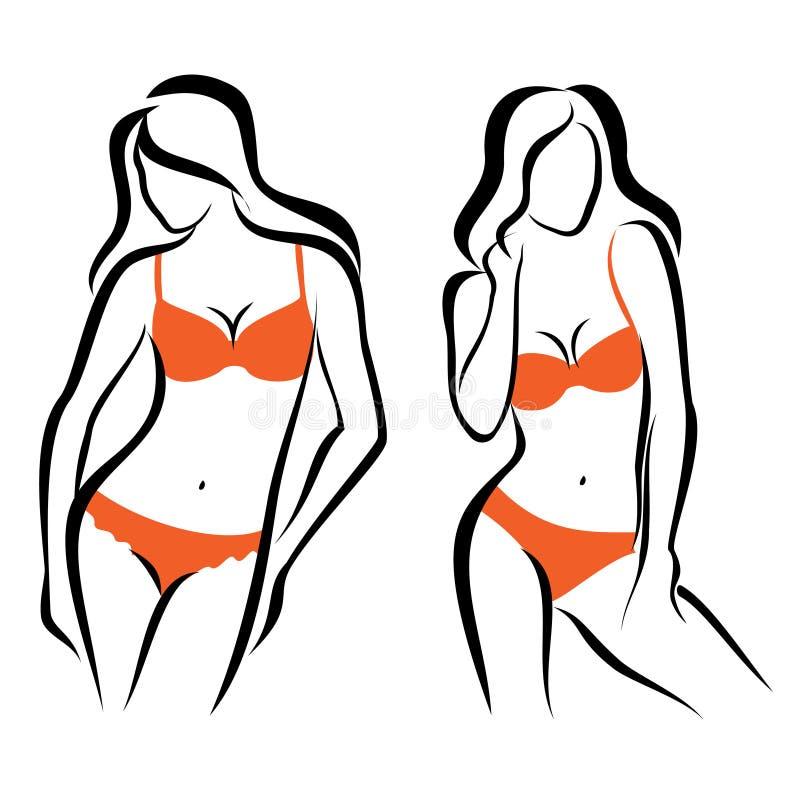 性感的妇女剪影,内衣 向量例证