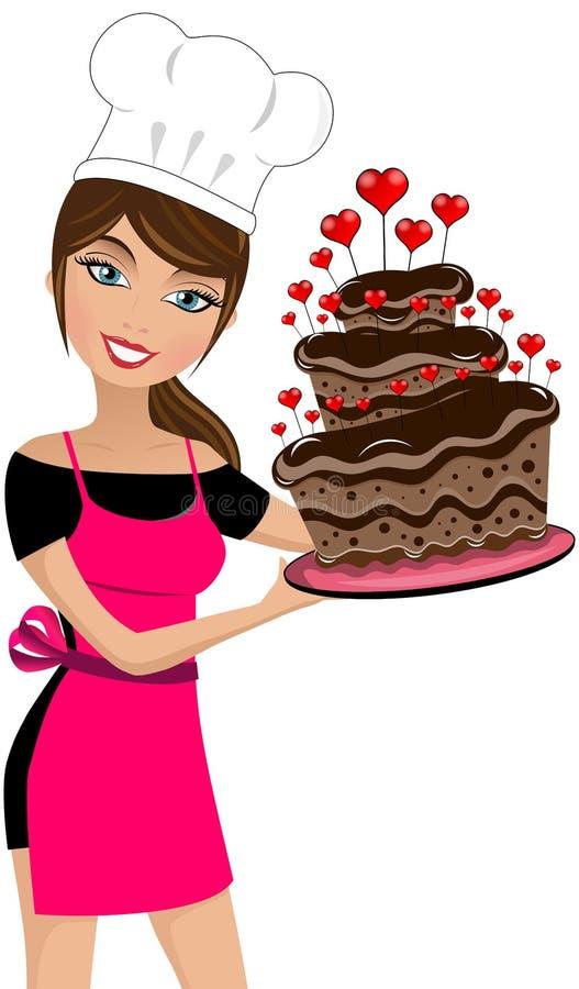 性感的妇女厨师情人节大巧克力蛋糕 库存例证