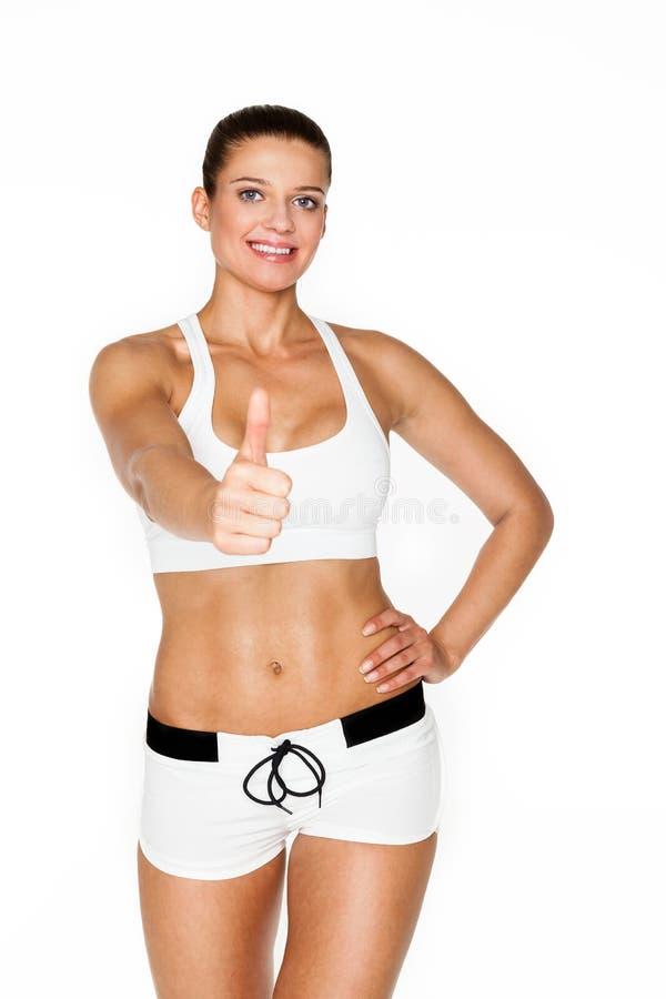 性感的完善的深色的健身妇女 免版税库存图片