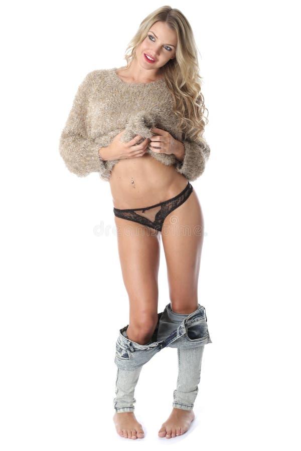 性感的少妇佩带的内裤 库存图片