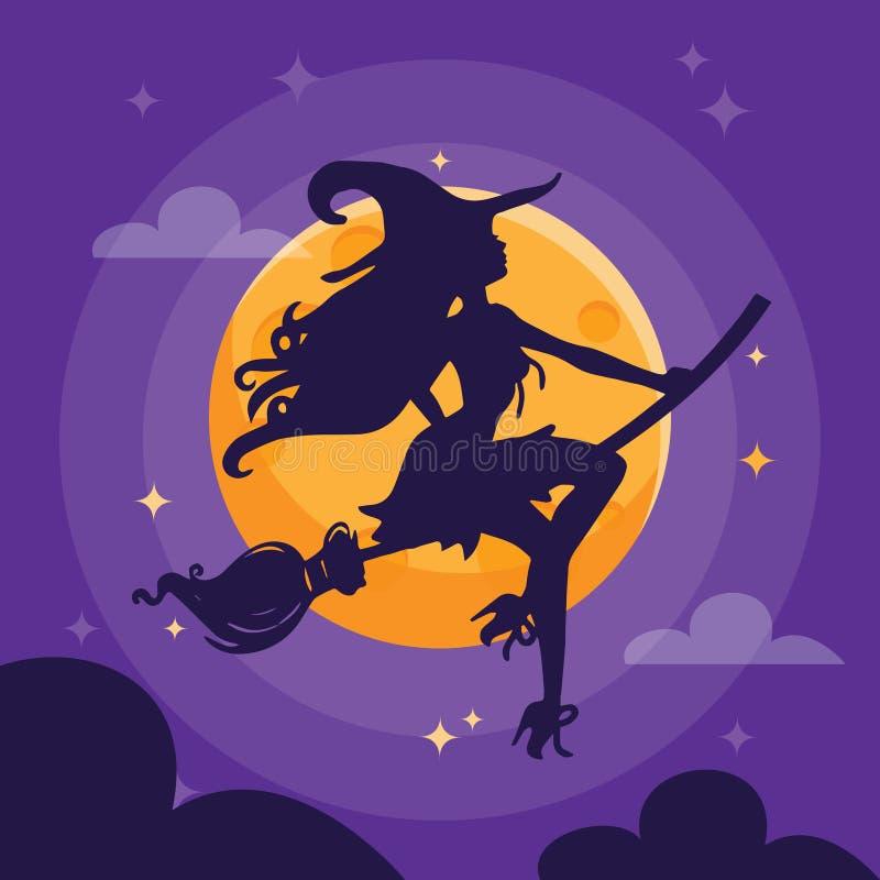 性感的巫婆剪影黑暗的万圣节夜 向量例证
