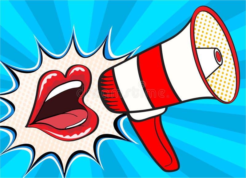 性感的开放女性嘴和扩音机叫喊的公告 导航在可笑的减速火箭的流行艺术样式的背景 向量例证