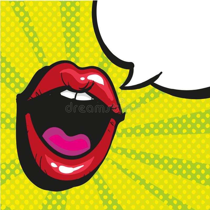 性感的开放女性嘴叫喊的流行艺术样式 皇族释放例证