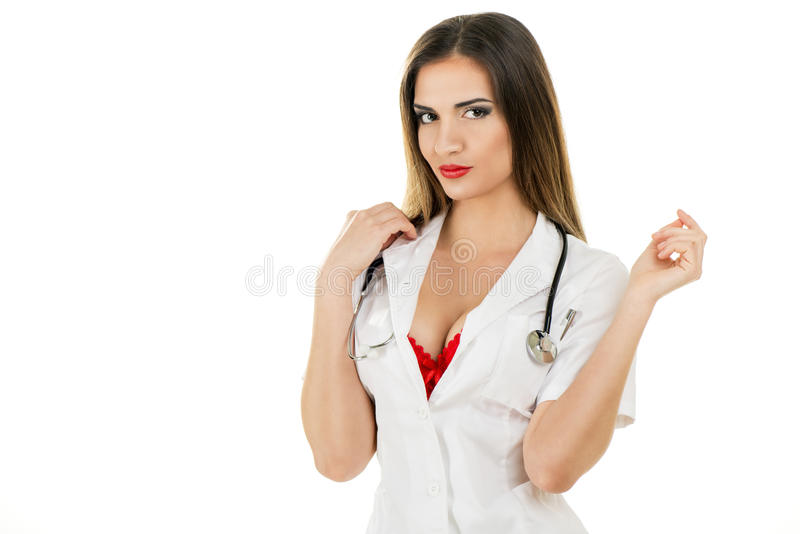 性感的护士画象  库存照片