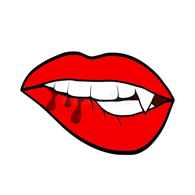 性感的有吸血鬼牙的,gre的万圣节设计妇女红色嘴唇 皇族释放例证