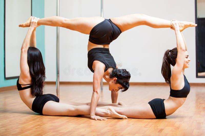 性感的杆健身小组姿势 库存照片