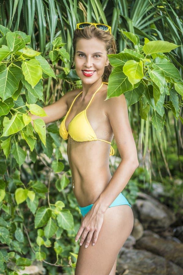 性感的比基尼泳装的美丽的女孩 免版税库存图片