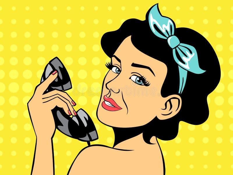 性感的深色的妇女谈话在电话 皇族释放例证