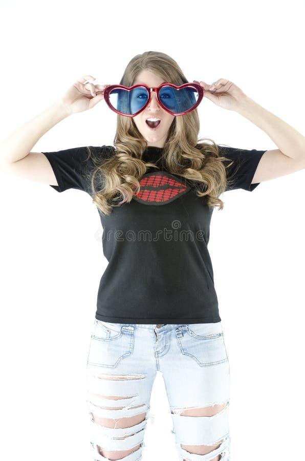 性感的白肤金发的大玻璃 免版税库存图片