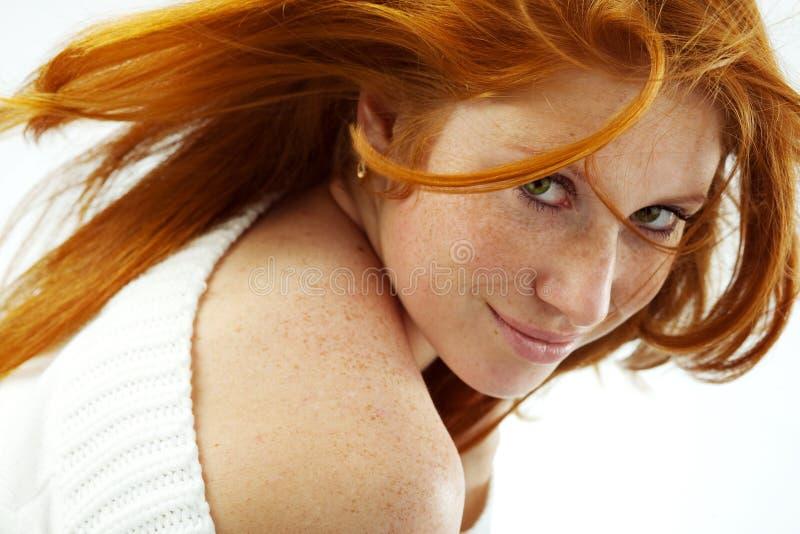 性感的红头发人 库存照片
