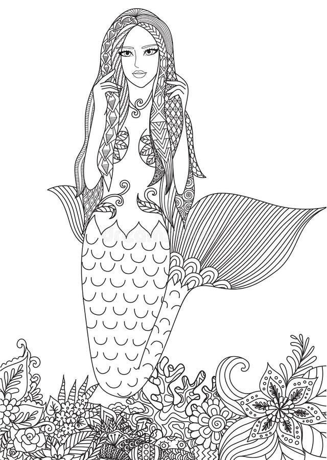 性感的美人鱼 向量例证