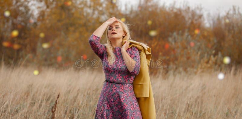 性感的美女画象桃红色礼服黄色外套的,smokey眼睛化妆,在干草的飞行头发 免版税库存照片