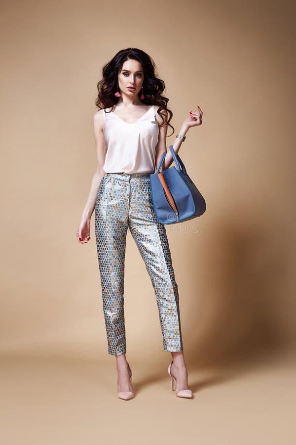 性感的美好的妇女时尚魅力模型深色的头发构成穿戴丝绸女衬衫长裤为每天偶然党样式穿衣 库存图片
