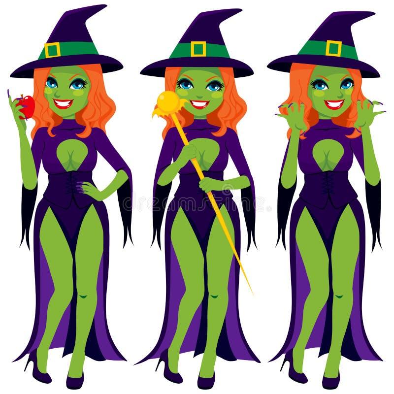 性感的邪恶的绿色巫婆 库存例证