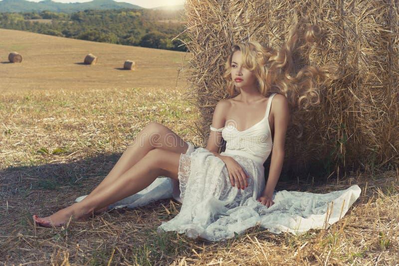 性感的金发碧眼的女人在种秣草地 库存照片