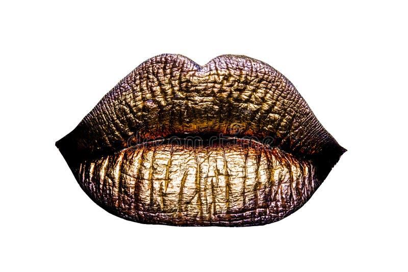 性感的金黄金属化的女性嘴唇 库存照片