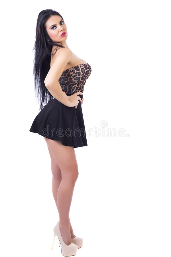性感的年轻深色的妇女全长画象有微型blac的 免版税库存照片