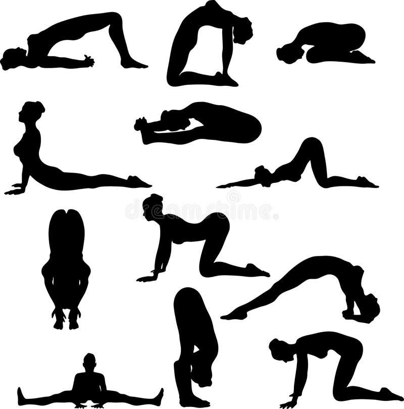 性感的silouettes瑜伽 向量例证