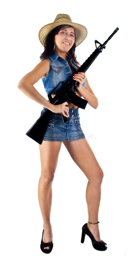 性感美国女性拉丁的步枪 免版税库存照片