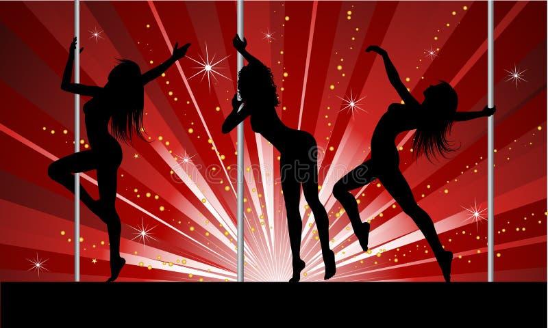 性感舞蹈演员的杆 皇族释放例证