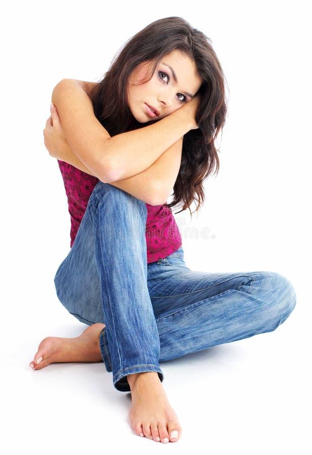 性感蓝色女孩的牛仔裤 库存图片