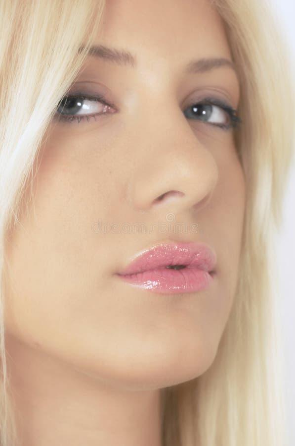 性感blondie的纵向 图库摄影
