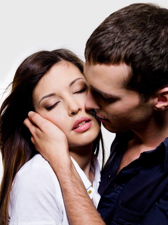 性美丽的夫妇的纵向 免版税库存图片