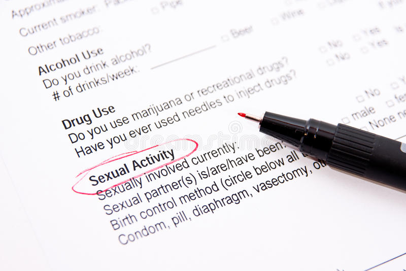 性行为-医疗表单 免版税库存照片