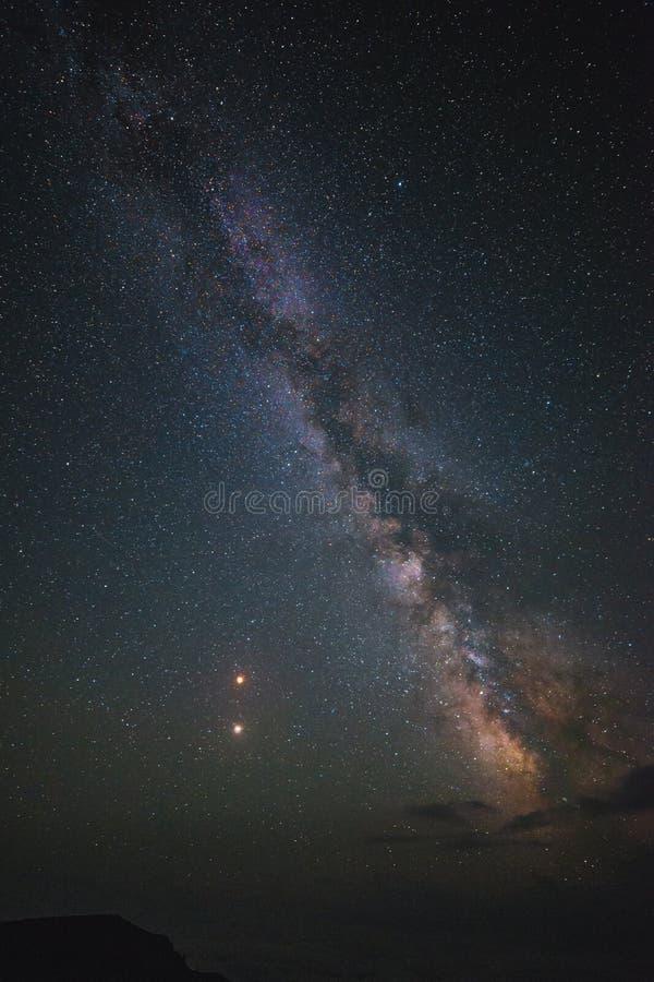总月亮蚀、火星反对和银河2018年7月27日 高原Bermamyt,北高加索,俄罗斯 免版税库存照片