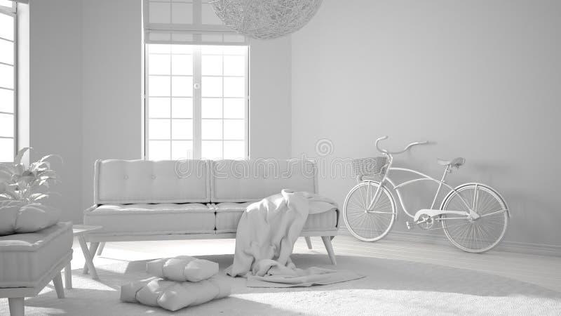 总白色项目草稿、斯堪的纳维亚最低纲领派客厅有大窗口的,沙发、扶手椅子和地毯,现代室内设计 皇族释放例证