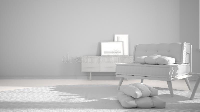 总白色项目草稿、最低纲领派客厅有大圆的地毯的和沙发有枕头的,现代室内设计建筑学 库存图片