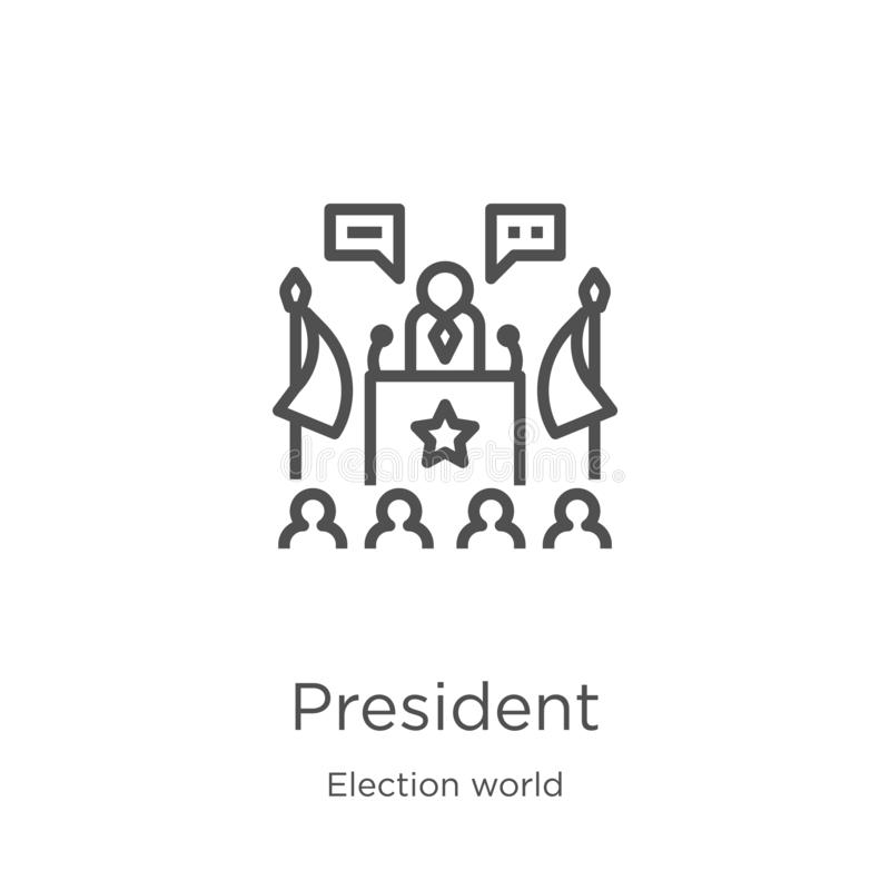 总统从竞选世界汇集的象传染媒介 稀薄的线总统概述象传染媒介例证 r 皇族释放例证