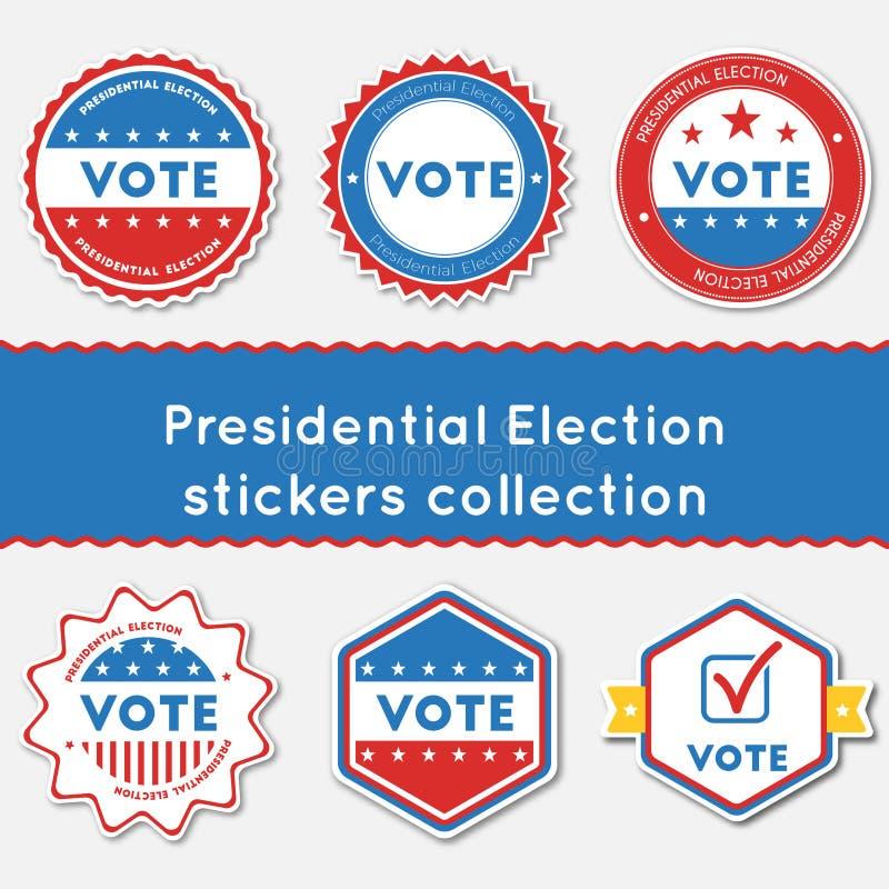 总统选举贴纸汇集 皇族释放例证