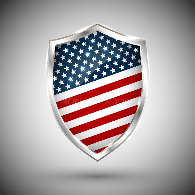总统` s天与星条旗介绍的盾横幅 美国独立日与美国旗子的盾象 保护保密性ba 向量例证
