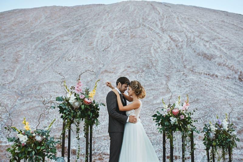 恋人一对美好的夫妇一片白色沙漠的,有一种婚姻的发型的年轻女人在一件时髦的礼服和英俊 免版税库存照片