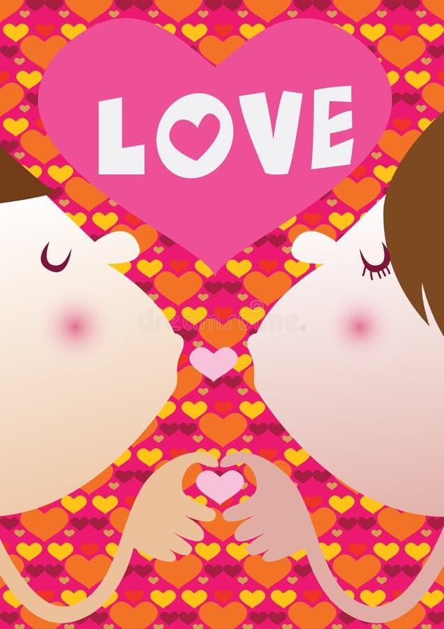 恋人亲吻 传染媒介例证为情人节 免版税库存照片