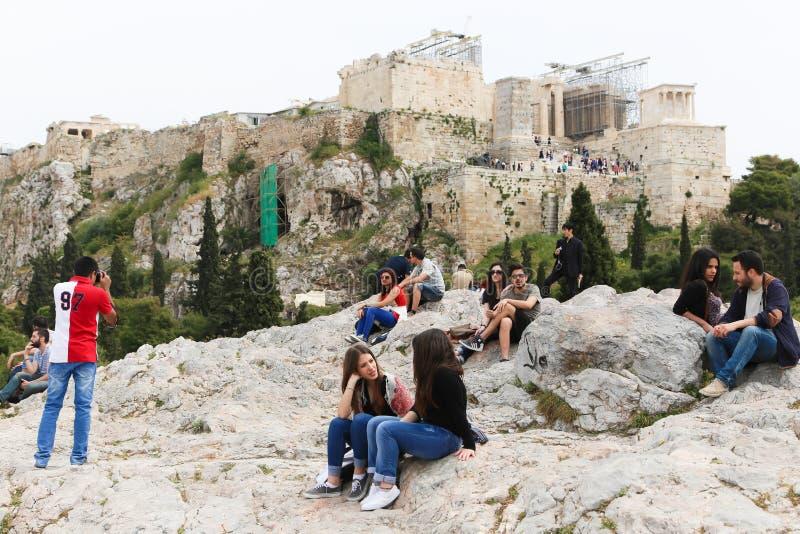 恋人在老历史的雅典 库存照片