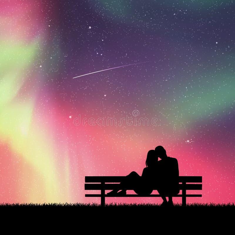 恋人坐长凳在公园在晚上 库存例证